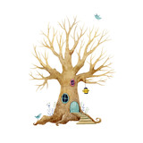 Watercolor vector tree house - 199584043