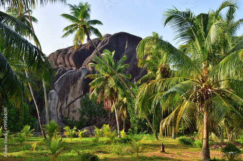 L'Union Boulder natural monument, La Digue, Seychelles
