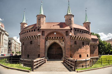 The Crakow Barbican a fortified outpost once connected to the city walls. It is a historic gateway leading into the Old Town of Krakow, Poland.