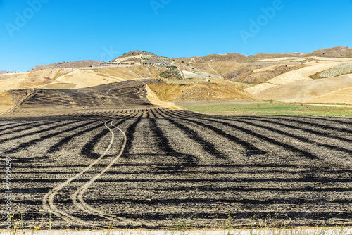 Foto op Canvas Beige Dryland crop fields burned after harvest in Sicily, Italy