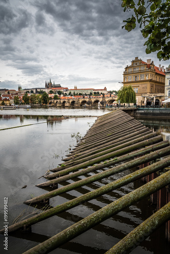 Poster Praag Cityscape of Prague and river