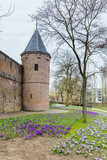 City wall and gate  in the ancient city center of Amersfoort Netherlands