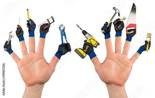 abstract diy handyman, concept two hands with working gloves and tools on fingers isolated on white background