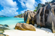 Quadro Source d'Argent Beach at island La Digue, Seychelles - Beautifully shaped granite boulders and rock formation - Paradise beach and tropical destination for vacation