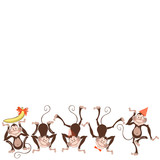 Festive card with monkey. Vector illustration on white background with space for text. Greeting card, invitation or isolated elements for design.