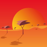 sunset landscape with trees , colorful design. vector illustration