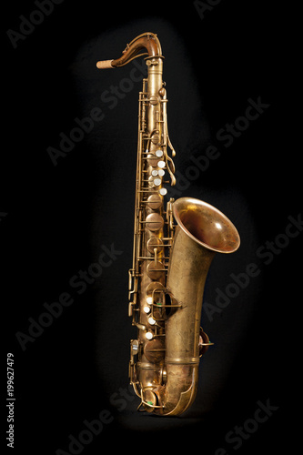 Tenor sax on black background Poster
