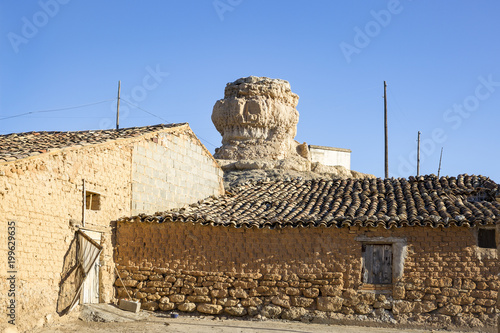antique houses made of clay and the tower (castle) at Aguilar de Montuenga villa Poster