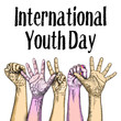 The concept of friendship day, International Youth Day, IYD celebration on 12 August. Vector.