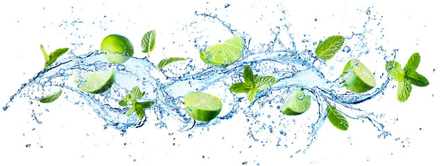 Water Splash With Mint Leaves And Slices Of Lime © Romolo Tavani