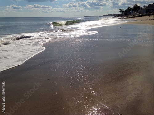 sparkling sands on the beach shore