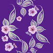 Beautiful seamless background of pink ornamental flowers and leaves on a lilac background