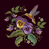 Violets flower and humming bird embroidery. Fashionable design of clothes, t-shirt design. Classical embroidery beautiful flowers of violet on black background - 199649433