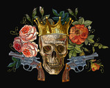 Embroidery golden crown, guns, skull and red roses. Dia de muertos, day of the death art. Gothic romanntic embroidery human skulls, revolvers, crown and red roses and pink peonies. - 199649480