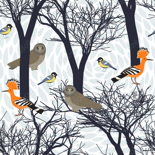 Fotobehang Uilen cartoon Seamless pattern with birds, owl, hoopooe, titmouse and silhouettes of trees. Endless texture. Graphic wallpaper design.