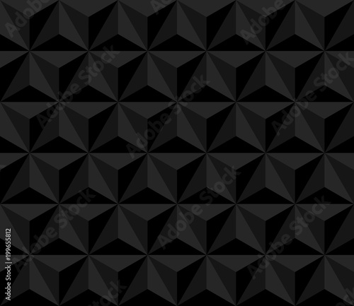 obraz PCV dark pyramid. vector seamless pattern with triangles. black geometric background. visual illusion