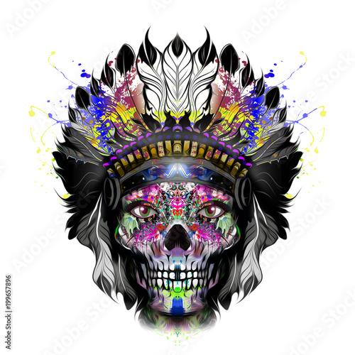 Aluminium Reznik ручная иллюстрация индийского черепа