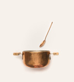 Copper cooking pot with spoon on white background. - 199658668