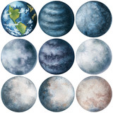 Set of Watercolor Blue Moons and Planets - 199661208