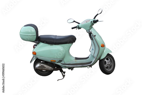 Fotobehang Scooter green italien scooter