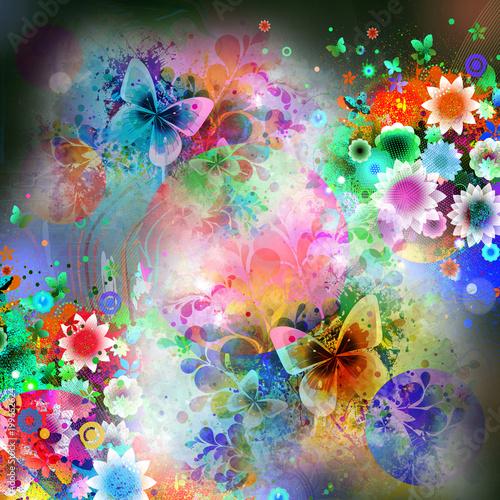 Aluminium Reznik красочные бабочки в абстрактном волшебстве плещутся на черном фоне