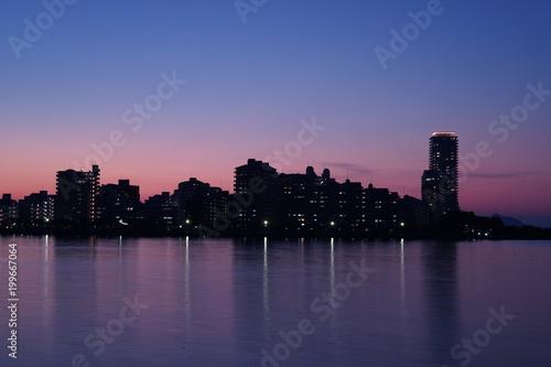 Plexiglas Aubergine 福岡市西区の夜景都市風景