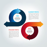 Two circle arrows in opposite direction infographic, chart, scheme, diagram.