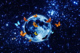 magic moon with butterflies around  over starry universe like a concept of happiness, soul, spiritual path,