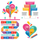 Business infographic templates concept vector illustration. Abstract banner set. Advertising promotion layout collection for presentation. Creative art. Graphic design elements.