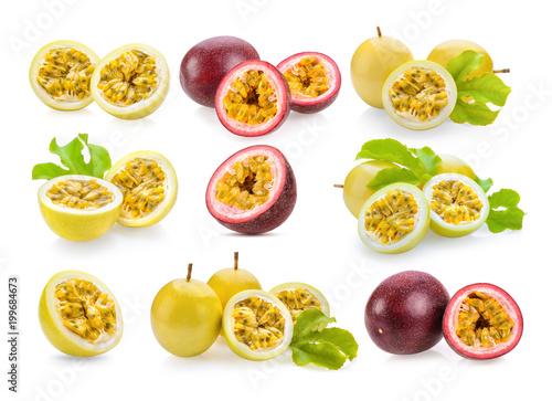 set of passionfruit isolated on white background - 199684673