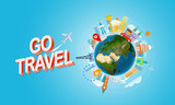 Vacation travelling concept. Go travel. Vector travel illustration with red bag. Horizontal composition