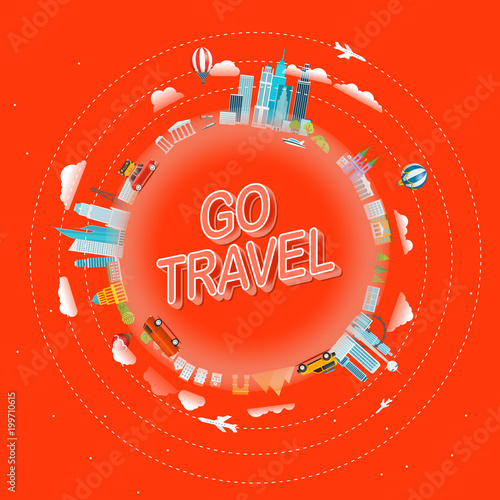 Go travel concept. Travel around the world vector illustration