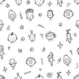 Doodle style food seamless vector pattern