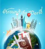 Around the wotld concept. Travel destination vector illustration