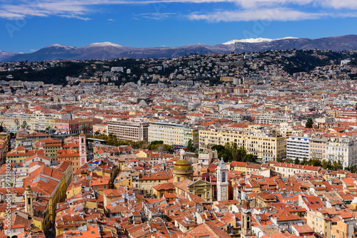 Foto op Plexiglas Nice Aerial view of Nice against mountains and blue sky, Nice, France