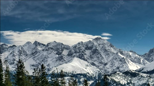 Snow capped peaks of Polish and Slovak Tatra mountains.