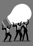 Business concept illustration of businessmen lifting up a light bulb together - 199719871