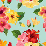 Tropical Hibiscus Flower Seamless Pattern. Floral Summer Background for Fabric Textile, Wallpaper, Decor, Wrapping Paper. Watercolor Botanical Design. Vector illustration