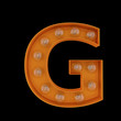 3D Illustration. The capital letter G with light bulbs.