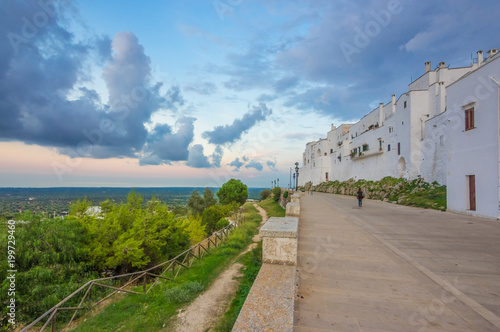 Ostuni (Puglia, Italy) - The gorgeous white city in province of Brindisi, Apulia region, Southern Italy, with the old historic center on the hill and beside the sea - 199729460