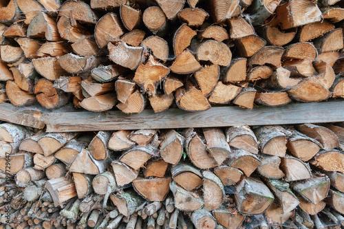Foto op Aluminium Brandhout textuur Holz gehackt