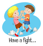Wordcard for have a fight with two boys fighting - 199729811