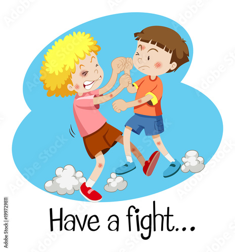 Wordcard for have a fight with two boys fighting