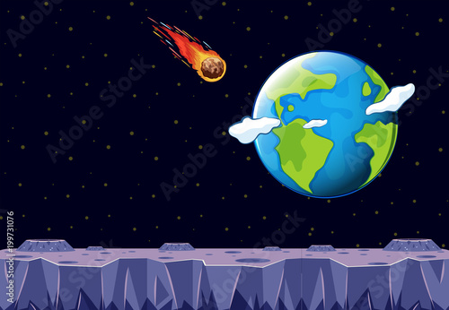 A meteor coming towards Planet Earth - 199731076