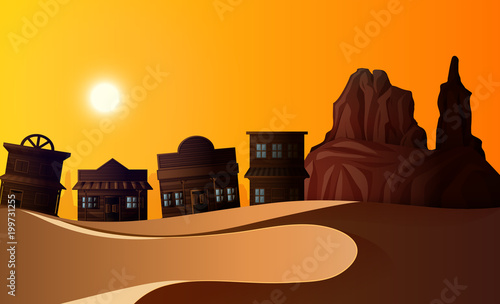 Foto op Plexiglas Bruin Desert scene with many buildings at sunset