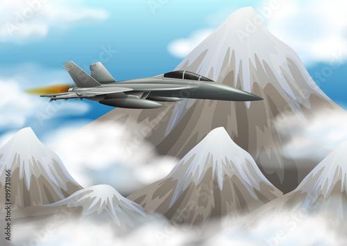 Fototapeta Fight jet flying over the mountain