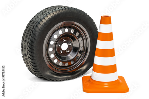 Punctured car wheel with traffic cone. 3D rendering