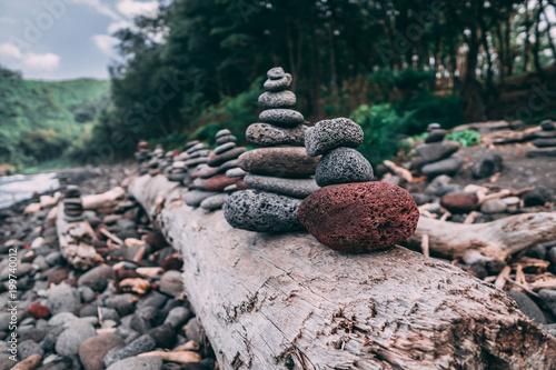 Foto op Canvas Zen Zen towers on the Pololu Black Sand Beach