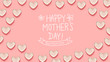Mother's Day message with many heart dishes on a pink background