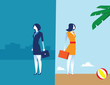 Business people with work and holidays. Concept business vacation vector illustration.